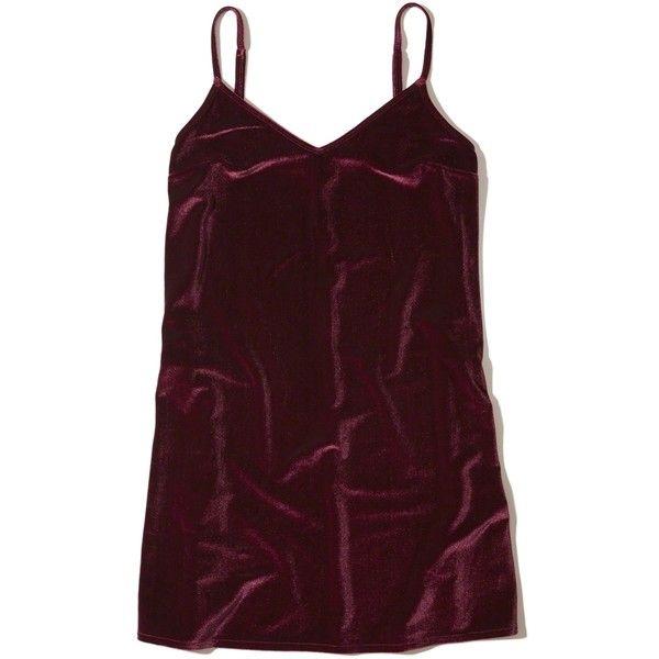 Hollister Velvet Slip Dress (€42) ❤ liked on Polyvore featuring dresses, burgundy, v neck cami, cami dress, purple dress, purple cami and v-neck dresses