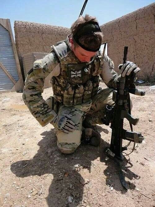 british special forces probably sbs or sas with an sa85 assault rifle in afghanistan oef