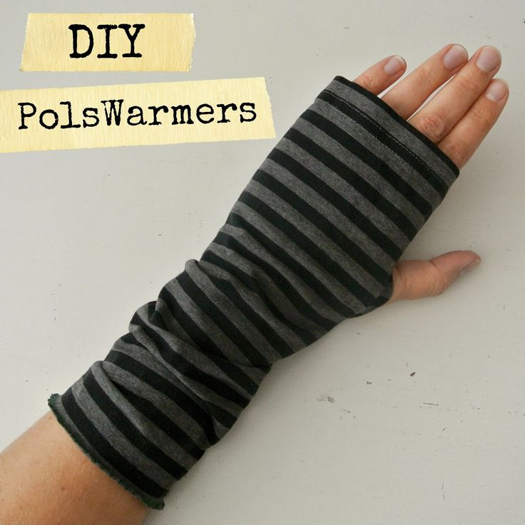 DIY wrist warmers from t-shirt sleeves