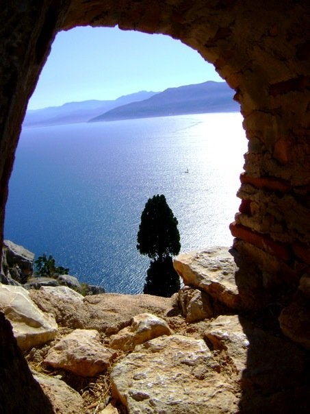 View from castle turret in Nafplion, Greece, overlooking the Adriatic Sea