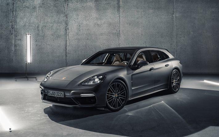 Porsche Panamera, Sport Turismo, 2018, New Panamera, gray Porsche, German cars