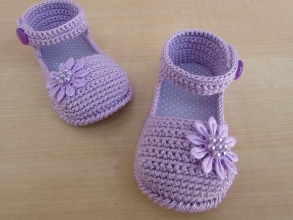 Sandalinha Gabriela lilas | sapatinhos de croche baby sapeca | Elo7