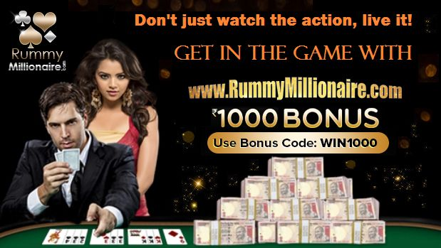 Don't just watch the action, live it! Get in the game with Rummy Millionaire. Play rummy online with Rs.1000 welcome bonus and win Big!