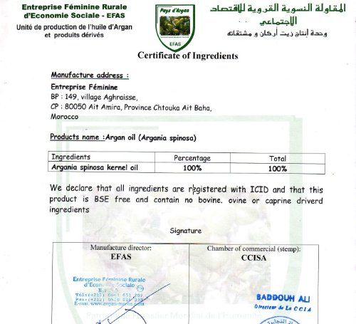 Aceite de Argan 1 litro puro 100% NATURAL BIO Certificado Ecocert primera presión en frío: Amazon.es: Belleza