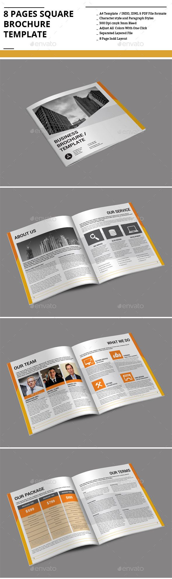 8 Pages Square Brochure Template — InDesign INDD #book #modern • Available here → https://graphicriver.net/item/8-pages-square-brochure-template/9167784?ref=pxcr