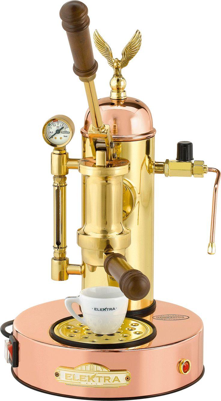 Macchina da caffè a leva in 3 versioni (rame, ottone, cromo) per il caffè a casa come quello del bar. Scopri Micro Casa Leva di Elektra, tradizione del caffè.
