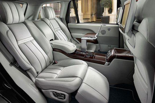 One of the most radical parts of the new 2015 Range Rover SVAutobiography may be its reclining rear seats, which have calf rests, lumbar massage, and electronically deployed tables. There's also a beverage refrigerator and two video screens.