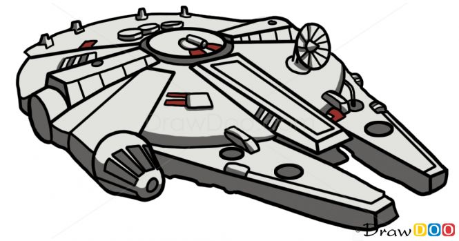 how to draw the millennium falcon step by step easy
