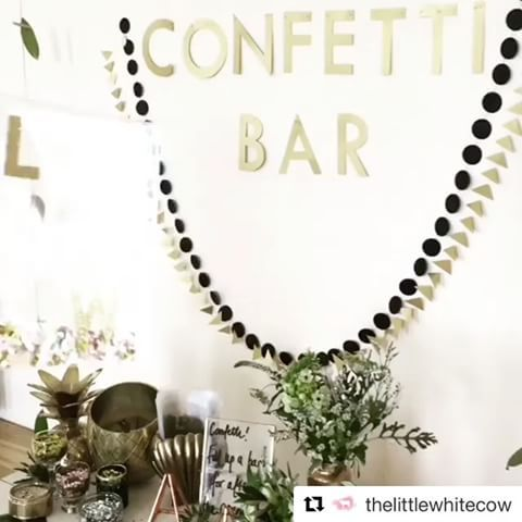 Huge thanks to the lovely @thelittlewhitecow for sharing this glamourama shot of a recent wedding, black&gold decor by us! ✨🖤✨   #Repost @thelittlewhitecow (@get_repost) ・・・ C O N F E T T I B A R ✨  When our lovely bride Laura mentioned a confetti bar filled with sequins we knew two things: 1. We needed to call @paperstreetdolls asap for a kick ass sign, and  2. We had found a kindred sequinned spirit.  We made up a bag for each guest to fill, and adorned them with glittery initials.  We…