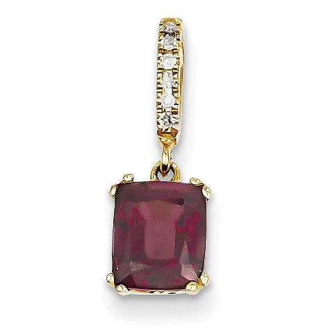 14k Diamond and Rhodolite Garnet Pendant XP4062RG/AA