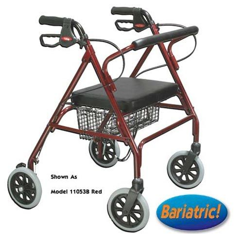 Red Adjustable width handles allow for easy entry through narrow doorways Loop brakes Comes with large 18 x 13 padded seat Wire basket Adjustable height handle Large 8 casters Weight Capacity: 400 Lbs. Limited Lifetime Warranty Carton Size: 38 x 32 x 11  #Rollators #Mobility_Walkers #Mobility_For_Seniors