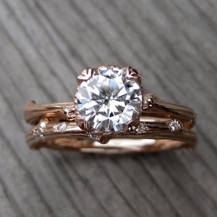 Forever Brilliant Moissanite Twig Engagement & Wedding Ring. Rose, Yellow, or White Gold. (Kristin Coffin Jewelry)