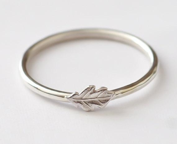 Stackable Sterling Silver Oak Leaf Ring