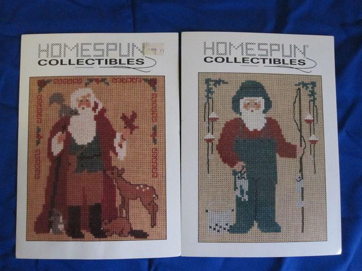 Homespun Collectibles 2 Santa Cross Stitch Charts Fisherman Santa & Forest Santa #HomespunCollectibles #Frame