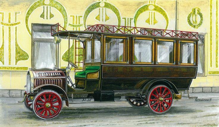 """Omnibus NW typu """"O"""" zvaný """"Hruban"""", vyrobený 3. 7. 1909 - 25 míst. Čtyři kusy byly vyrobeny v roce 1907 s motorem Lang o výkonu 25,3 k. (18,6 kW). Motor řadový, čtyřdobý, zážehový čtyřválec chlazený kapalinou. Vrtání/zdvih: 110/130mm, zdvihový objem 4940 ccm. 1000 ot./min. Spojka suchá lamelová, Převodovka čtyřstupňová mechanická (4+Z)Brzdy- bubnové , mechanické Celková hmotnost 2700 kg. Počet osob - 20 až 25 Max. rychlost 25 km/h."""