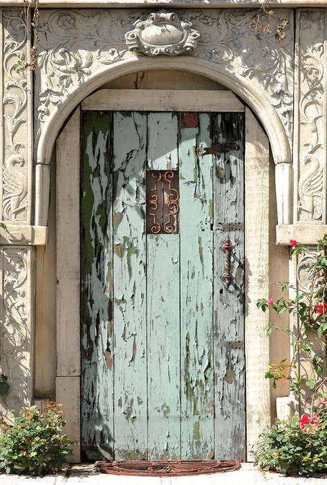 Tuinposter 'Oude deur met ornament'
