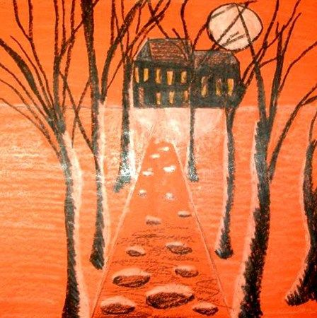 Artsonia Art Museum :: Artwork by Teachers7 Orange paper, black, and white crayon - Halloween perspective