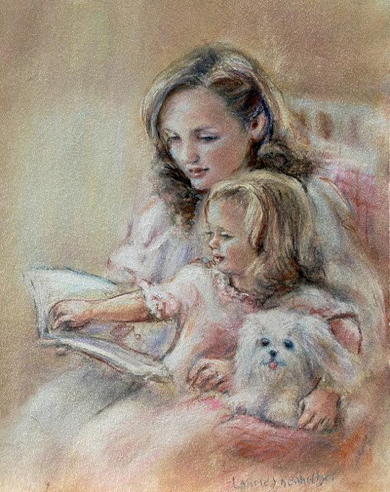 "Mother child, reading mom ""Bedtime Story"" Art print baby art, nursery pastel 8x10"