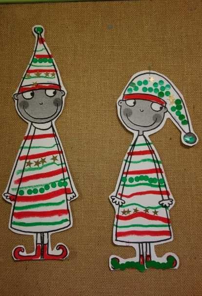Cette année je n'ai vraiment pas eu le temps de réaliser un bricolage ou des déco de Noël très élaborées (autre projet en cours). Par contre j'ai aimé cette image de Lutins trouvée sur Pinterest et j'ai proposé à mes élèves un exercice de graphisme décoratif...