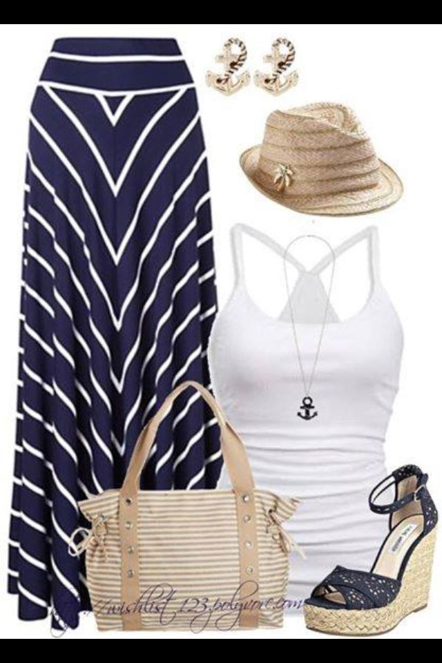 Love the maxi skirt!!! The entire outfit is cute, but don't think I could pull off the hat.