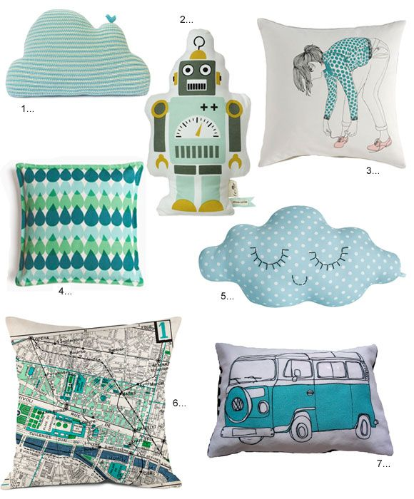 cool pillows: Blue Accent, Kids Bedrooms, Bus Pillows, For Kids, Cute Pillows, Blue Pillows, Cloud Pillows, Blue Cloud, Kids Rooms