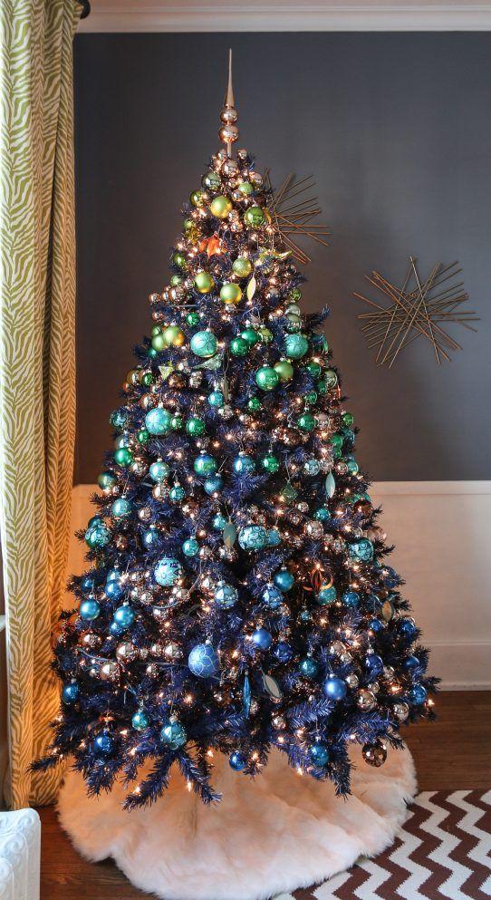 Árvore de Natal azul e dourado