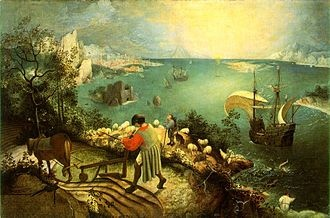 Bruegel's Landscape with the Fall of Icarus (ca. 1558), famous for relegating the fall to a scarcely noticed event in the background