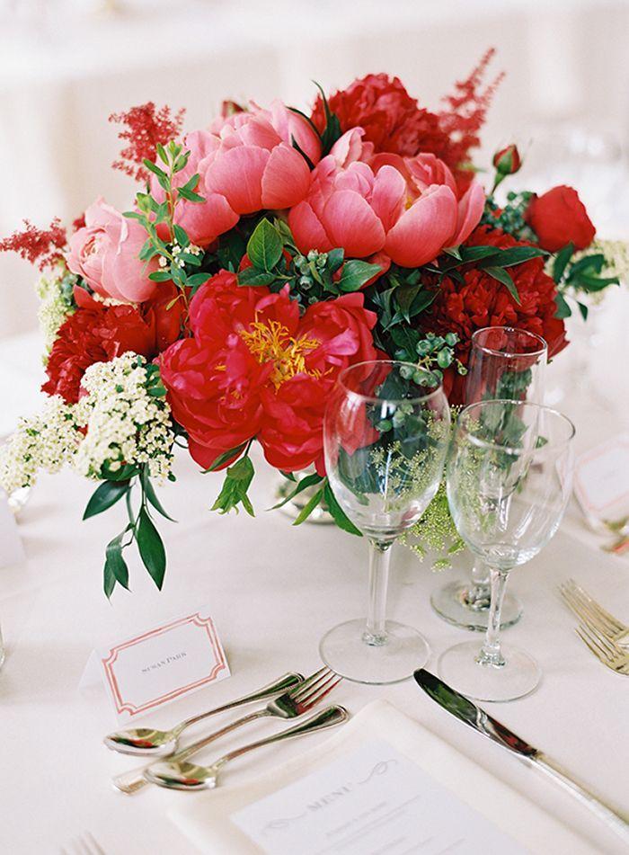 Crimson and Coral Charm Peony Centerpiece with Elegant Gold Details      #wedding #weddingideas #weddings #colorpalette #red #redwedding #neutrals #centerpiece #floraldesign #floralarrangement #peonies #weddingdecor