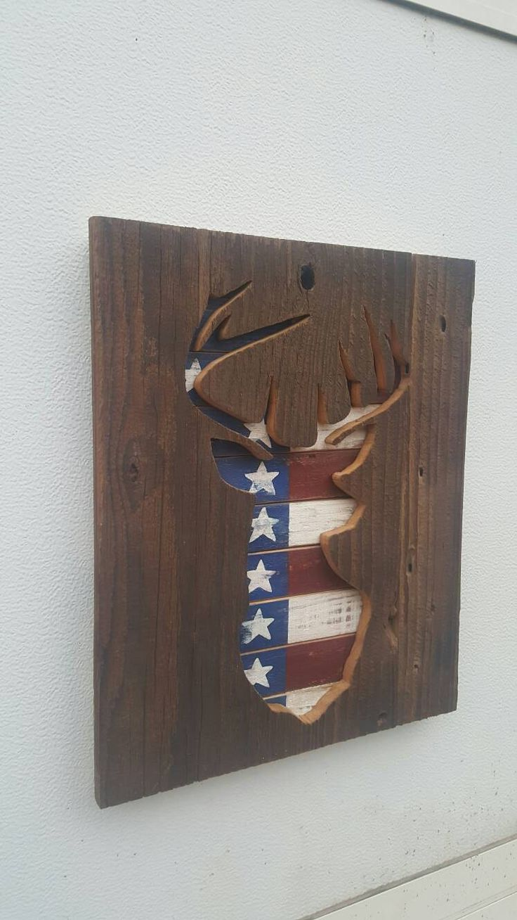 Rustic Patriotic Flag Pallet Cedar Wood Deer Silhouette Sign Repurposed Recycled Reclaimed Distressed Wood Sign Gift For Hunter GREAT GIFT