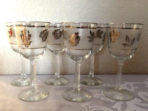 mid century silver leaf wine glasses by timelesstreasuresbym my etsy shop barware pinterest. Black Bedroom Furniture Sets. Home Design Ideas