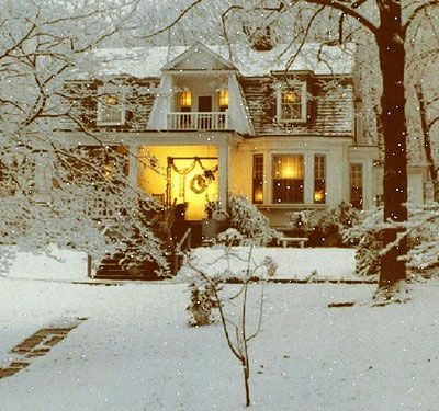 White Christmas cottage