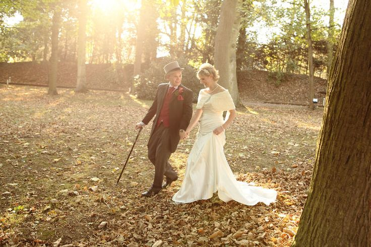 Bride and groom on a country stroll