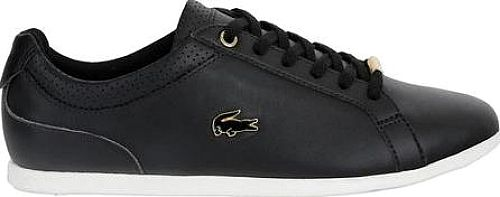 Lacoste Women's Shoes in Black Color. Add a touch of sparkle to your early morning strolls with the Lacoste Rey Lace 3 Sneaker. Crafted for the modern woman, this lace-up shoe features a classic cupsole, padded ankle, and pared-back aesthetics. Padding around ankle Rubber outsole Logo detail.