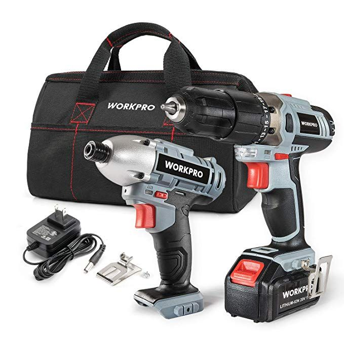 Workpro Cordless Drill Driver Impact 20v Lithium Combo Kit 1 5ah 1 Battery Charger And Storage Bag Included Cordless Drill Combo Kit Drill Driver