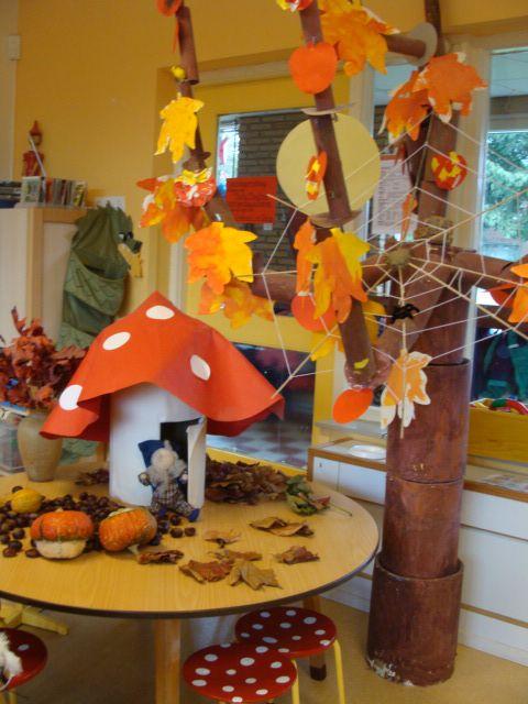 Een tafel aangekleed in thema herfst. Zorg hierbij dat je gebruik maakt van levensecht materiaal en materiaal die de leerlingen zal prikkelen. Laat leerlingen ook zelf materiaal meebrengen die een plaats kunnen krijgen op de herfsttafel. #herfst