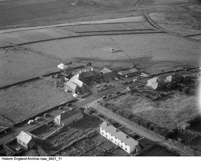 HAW01/09401/11 Aerial view of the Jamaica Inn, Bolventor, Altarnun, Cornwall. 30 July 1959, Harold Wingham. Please click for more information or to search our collections.