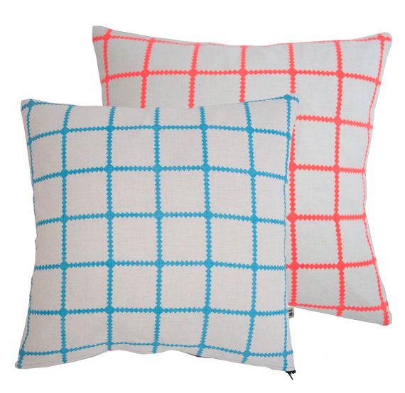 Kites Screenprinted cotton cushion turq peach by KanganArora