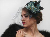 Schwarz Fascinator, Schwarz Kleine Hut, Haarblüten