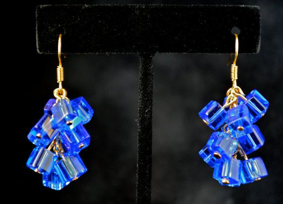 Brilliant Blue Cluster Cube Earrings  It's Hip To by DizzleDesigns
