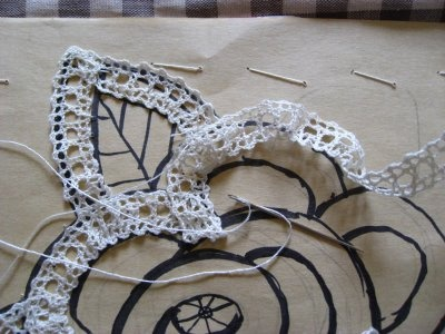 Couching Bruges Lace to a paper pattern