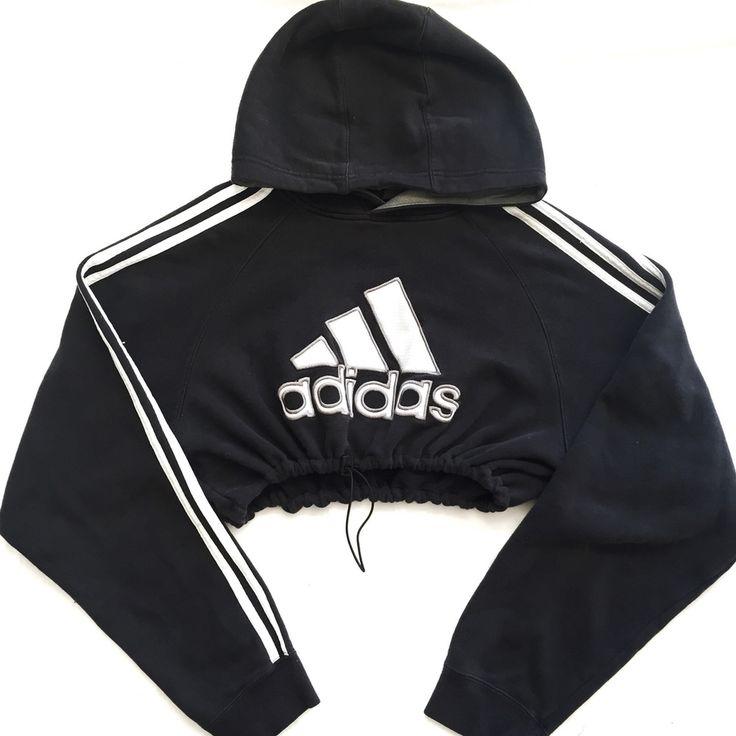 QUEENS | Reworked Adidas Crop Hoody Blk