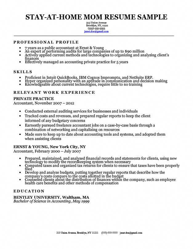 Stay At Home Mom Resume Sample With Work Gaps Mysavinglist
