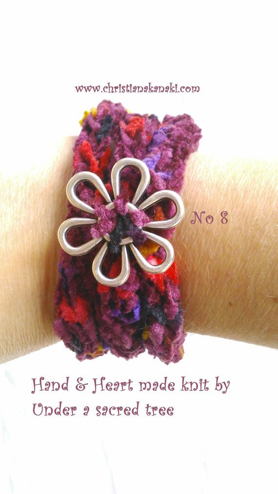 Hand & Heart knitted bracelet with metal button ~ Charged with Reiki ~ Statement bracelet