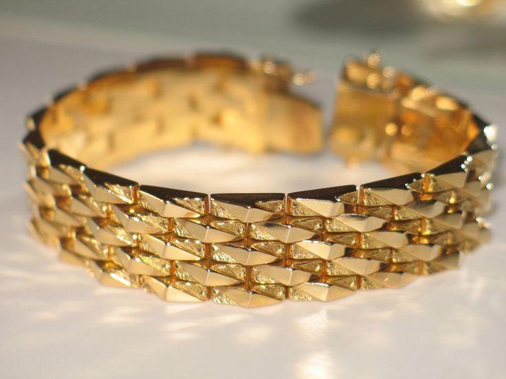 Vintage Italian Gold Bracelet 18k Yellow Gold Wide