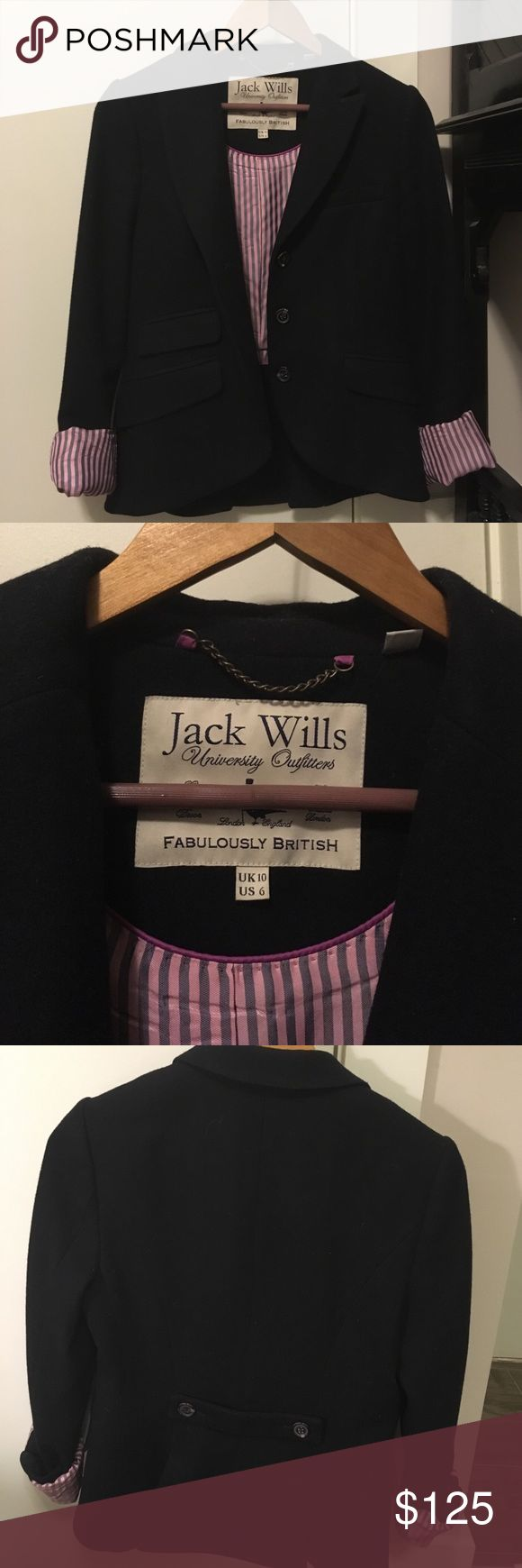 Jack Wills Hunt Style Jacket Gorgeous wool jacket with pink and blue striped lining. Jack Wills Jackets & Coats Blazers
