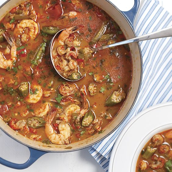 Crawfish season and okra season overlap a little bit in the early summer. While they're both around, we love cooking up a crawfish gumbo, full of plump Louisiana crawfish tails and sweet shrimp.