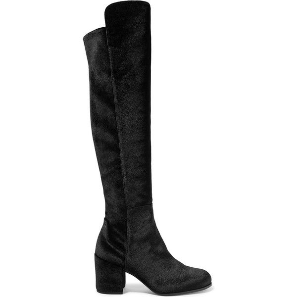 Stuart Weitzman Lowjack stretch-velvet knee boots (920 CHF) ❤ liked on Polyvore featuring shoes, boots, black boots, black block heel boots, block heel boots, black velvet boots and mid calf boots