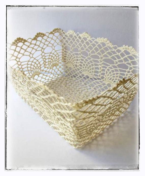 Vintage Crochet Lace Rectangular Basket Large - I love this!  I can crochet, but don't know if I could do this....might give it a go.