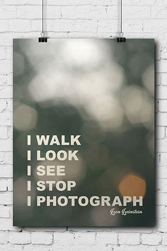 """PHOTOGRAPHY FUN POSTER """"I WALK I LOOK I SEE I STOP I PHOTOGRAPH"""" - All posters are 11""""x14"""" - Easy to mount, frame or display as is - Printed on high-grade poster paper ?ÿ"""