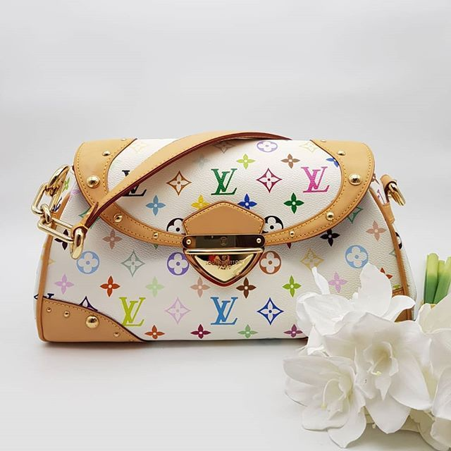 800 Wire Preloved Louis Vuitton Beverly Mm Bag White Multi